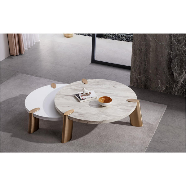 Whiteline Modern Living CT1657S Mimeo round Coffee Table, Matt White - homeconvex