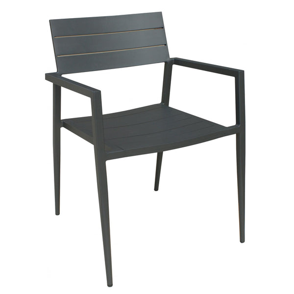 Whiteline Modern Living DAC1531 Venice Indoor/Outdoor Dining Armchair Dark Grey  Aluminium 8929A - homeconvex