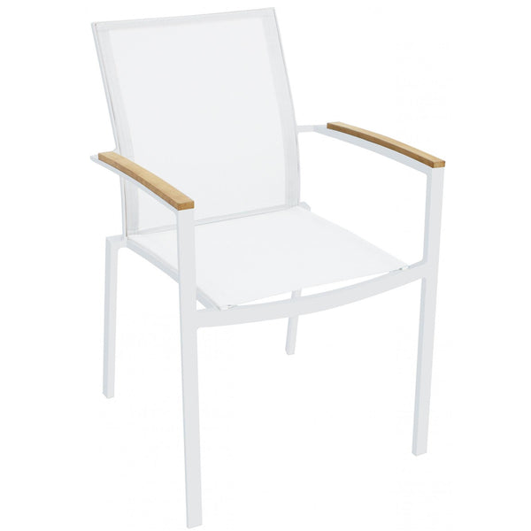 Whiteline Modern Living DAC1540 Sanctuary Indoor/Outdoor dining armchair White, teak wood on arms - homeconvex