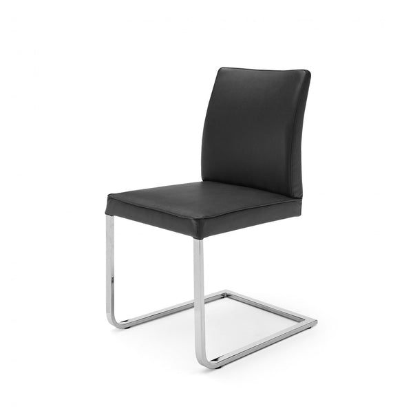 Whiteline Modern Living DC1049P Ivy Dining Chair Gray Faux Leather Chrome frame - homeconvex