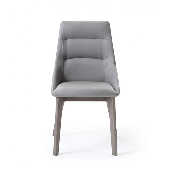 Whiteline Modern Living DC1420 Siena Dining Chair Grey Faux Leather  Solid Wood Legs grey veneer - homeconvex