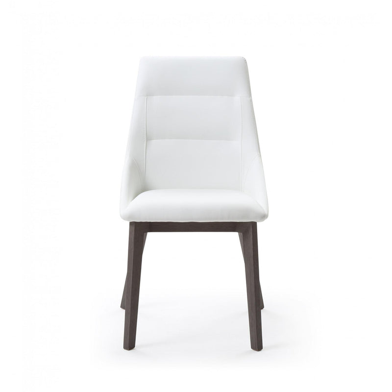 Whiteline Modern Living DC1420 Siena Dining Chair White Faux Leather  Solid Wood Legs grey veneer.. - homeconvex