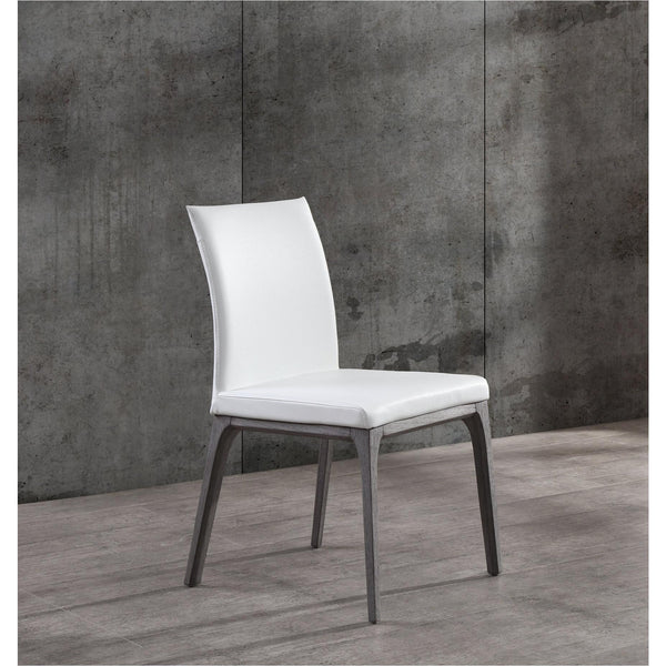 Whiteline Modern Living DC1454 Stella Dining Chair, White faux leather,solid wood with oak veneer in grey base - homeconvex