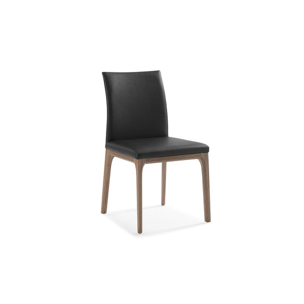 Whiteline Modern Living DC1454 Stella Dining Chair Black  faux leather solid wood with walnut veneer base frame. - homeconvex