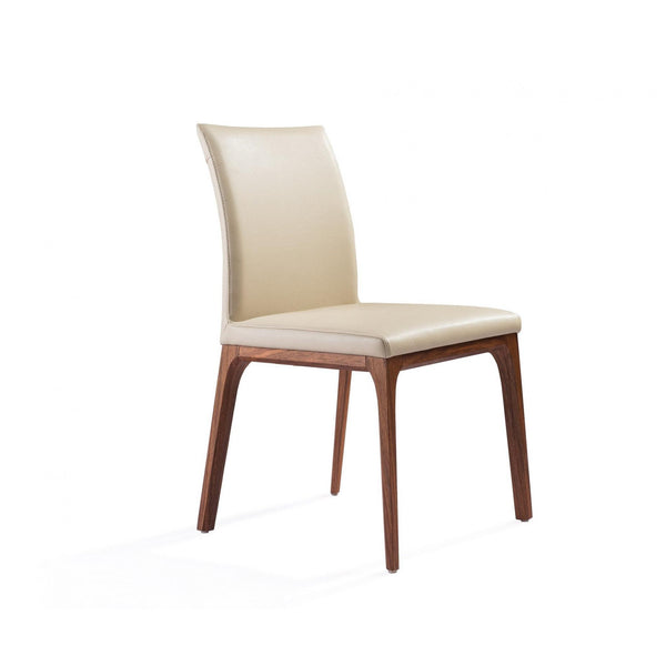 Whiteline Modern Living DC1454 Stella Dining Chair taupe faux leather solid wood with walnut veneer base frame. - homeconvex