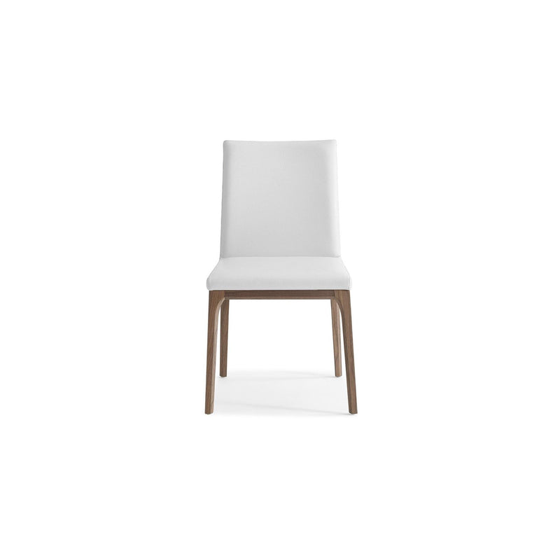 Whiteline Modern Living DC1454 Stella Dining Chair White faux leather solid wood with walnut veneer base frame. - homeconvex