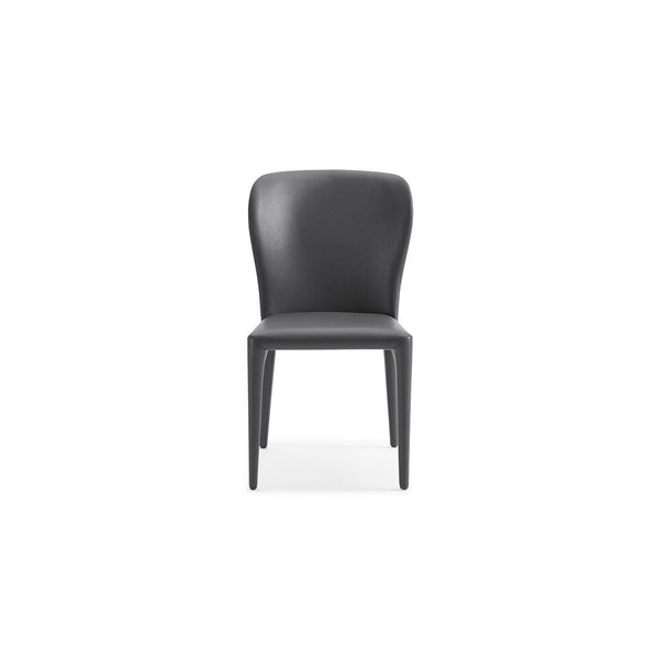 Whiteline Modern Living DC1455 Hazel Dining Chair Gray faux leather Seat Back and legs covered. - homeconvex