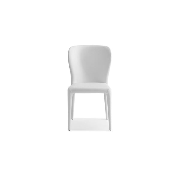 Whiteline Modern Living DC1455 Hazel Dining Chair white faux leather Seat Back and legs covered. - homeconvex
