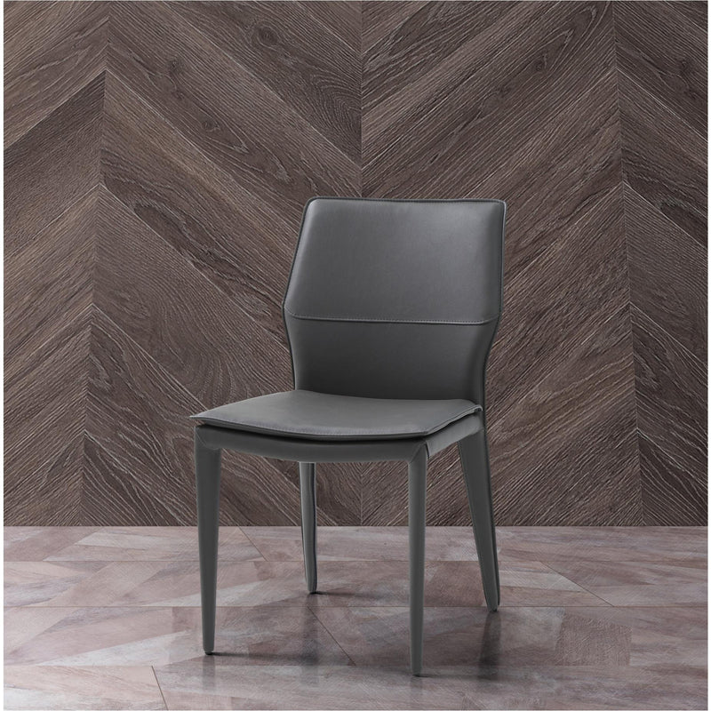 Whiteline Modern Living DC1475 Miranda Dining Chair Dark Grey Faux Leather, Steel legs fully covered with Dark Grey faux leather. - homeconvex