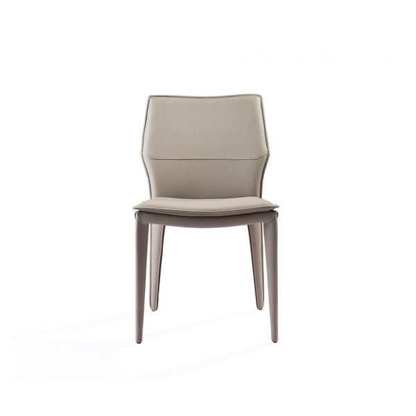 Whiteline Modern Living DC1475 Miranda Dining Chair Light Grey Faux Leather, Steel legs fully covered with Light Grey faux leather. - homeconvex