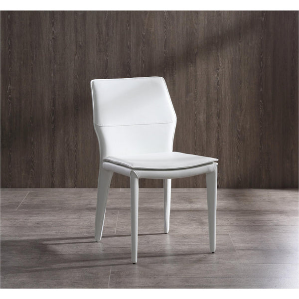 Whiteline Modern Living DC1475 Miranda Dining Chair White Faux Leather, Steel legs fully covered with White faux leather - homeconvex