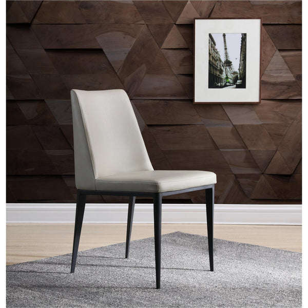 Whiteline Modern Living DC1478 Carrie Dining Chair Light Grey Faux Leather and Steel Sanded Black coated base frame - homeconvex