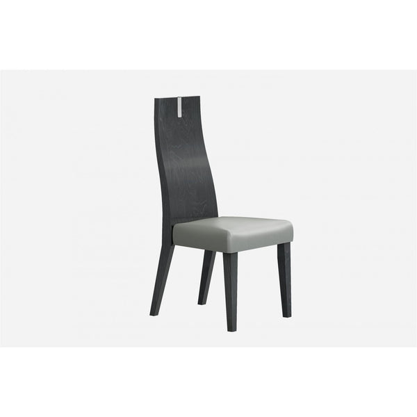 Whiteline Modern Living DC1619 Los Angeles Dining Chair High Gloss Grey with PU - homeconvex