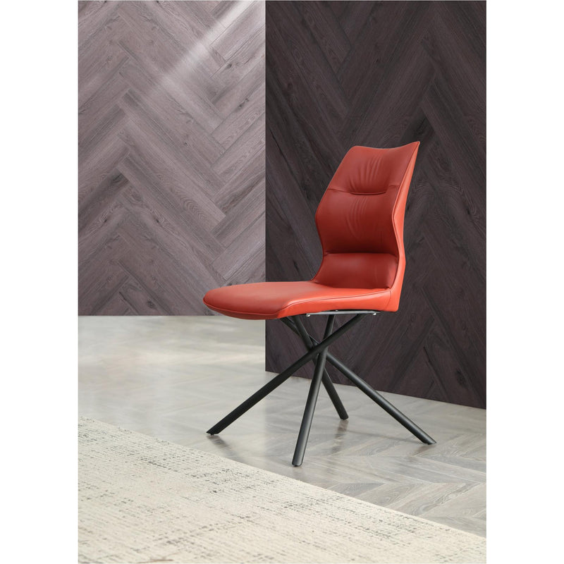 Whiteline Modern Living DC1633P Marlon Dining Chair, Burgundy faux leather, matte Black powder coated metal legs - homeconvex