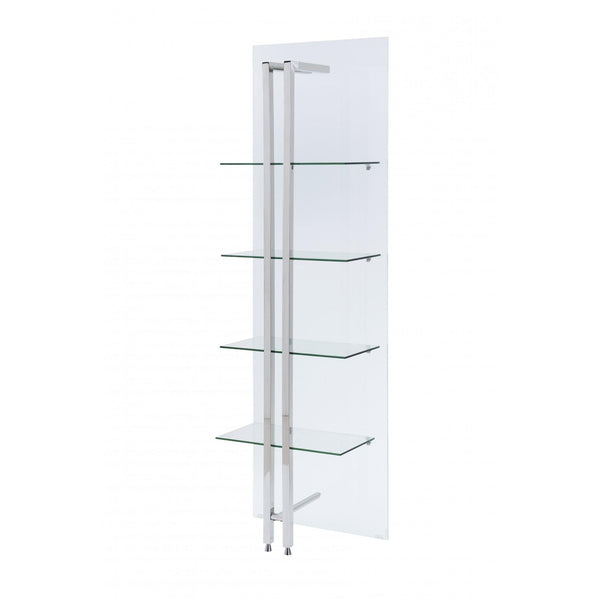 Whiteline Modern Living DI1439 Blake small Bookshelf/Divider, Back is 10mm Tempered glass one Side frosted, - homeconvex