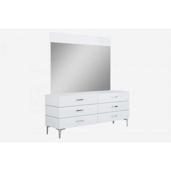 Whiteline Modern Living DR1345D Diva Dresser Double high gloss white 6 self-close drawers chrome handles stainless steel legs - homeconvex