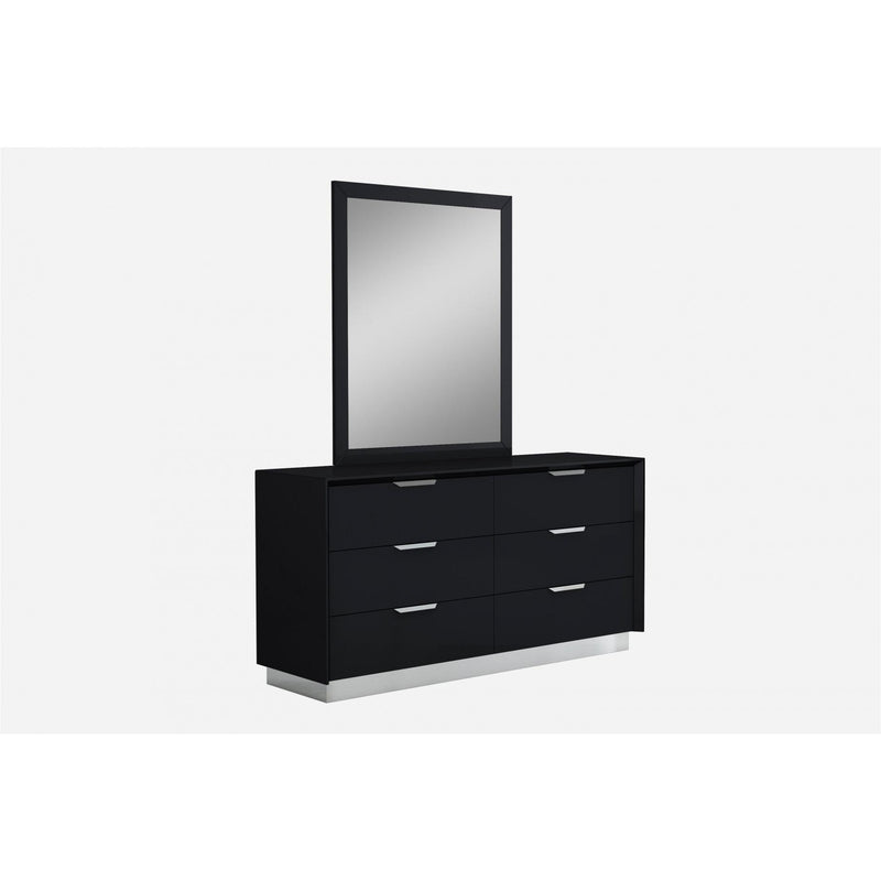 Whiteline Modern Living DR1354 Navi Dresser Double high gloss Black with stainless steel trim 6 drawers with self-close runners stainless steel handles - homeconvex