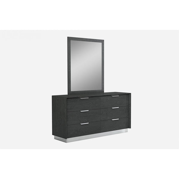 Whiteline Modern Living DR1354 Navi Dresser Double high gloss Grey with stainless steel trim 6 drawers with self-close runners stai - homeconvex