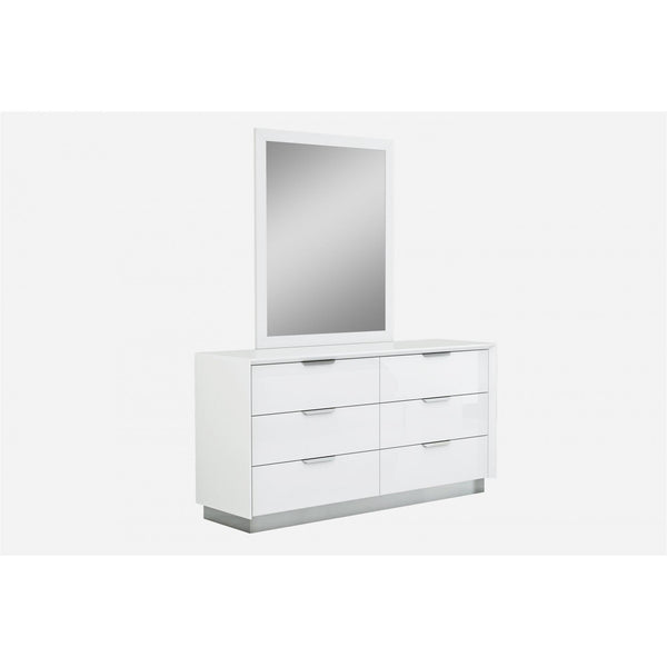 Whiteline Modern Living DR1354 Navi Dresser Double high gloss white with stainless steel trim - homeconvex