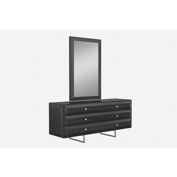 Whiteline Modern Living DR1356D Abrazo Dresser, high gloss dark gray, 6 self-close drawers with geometric design, chrome handles, stainless steel base - homeconvex