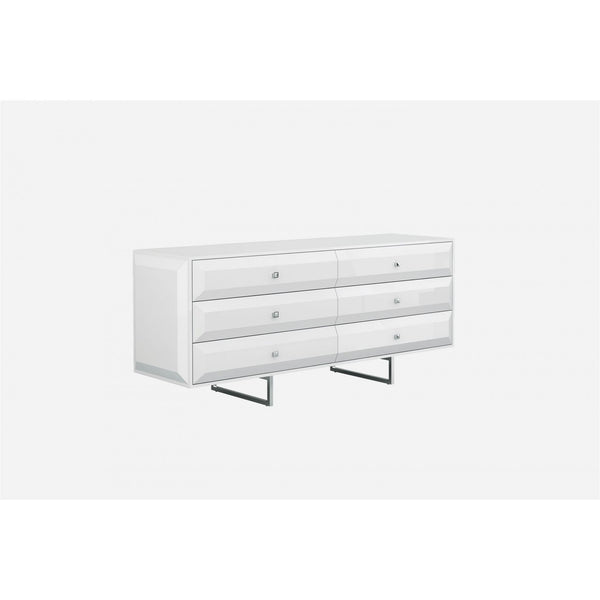 Whiteline Modern Living DR1356D Abrazo Dresser high gloss white 6 self-close drawers with geometric design chrome handles - homeconvex
