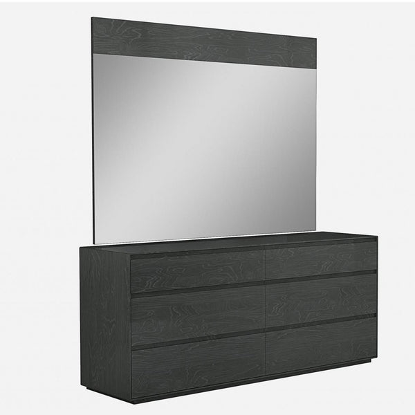 Whiteline Modern Living DR1367 Malibu Dresser high gloss Grey 6 self close drawers - homeconvex