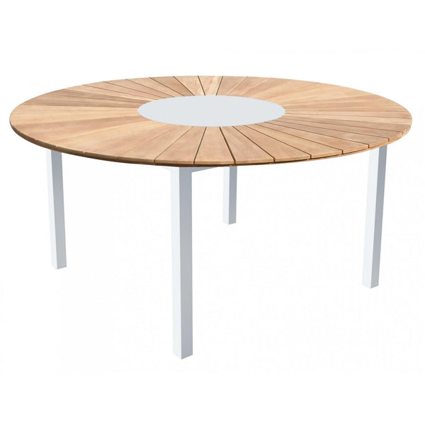 Whiteline Modern Living DT1539C Sanctuary Indoor/Outdoor Round Dining Table White with Teak - homeconvex