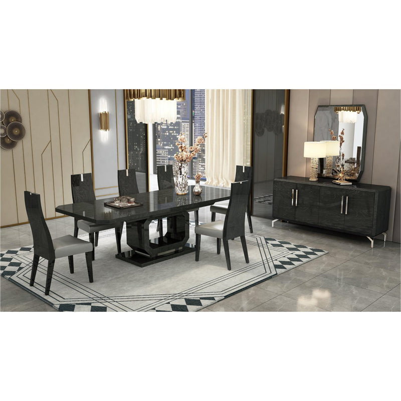 Whiteline Modern Living DT1619 Los Angeles Extendable Dining Table High Gloss Grey - homeconvex