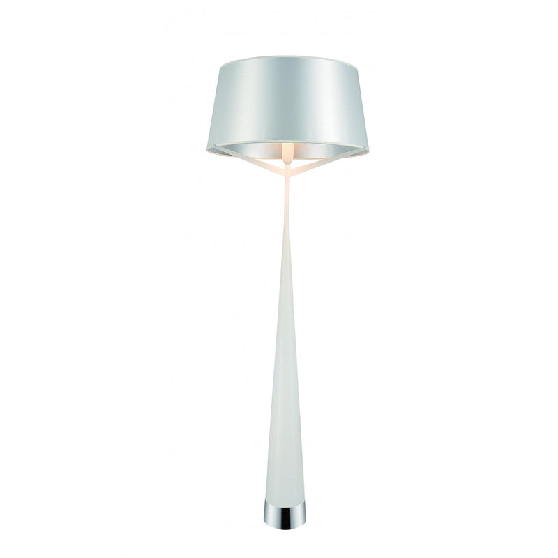 Whiteline Modern Living FL1498 Paris Floor Lamp  Carbon Steel and White Fabric Shade - homeconvex