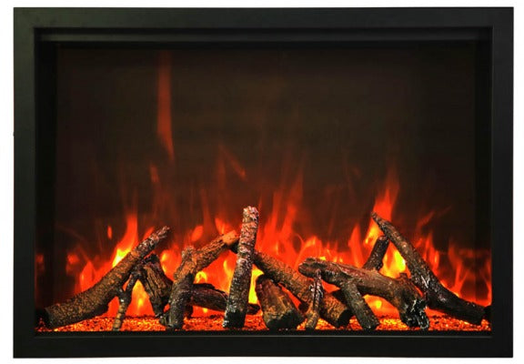 "Amantii TRD-44 44"" Fireplace – includes a steel trim, glass inlay, 20 piece log set with remote and cord"