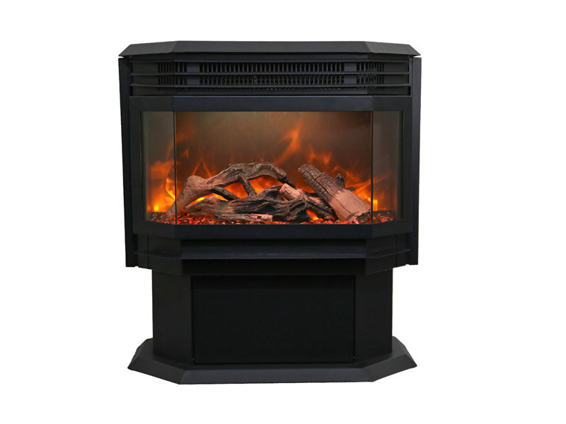 "Sierra Flame FS-26-922 26"" Free Stand Stand with 15 piece log set and sable glass"