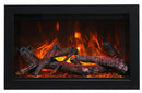 "Amantii TRD-33 33"" Fireplace – includes a steel trim, glass inlay, 10 piece log set with remote and cord"