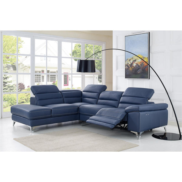 Whiteline Modern Living SL1349L Johnson Sectional, Navy Blue - homeconvex
