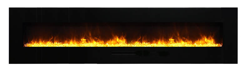 "Amantii WM-FM-88-10023-BG 88"" Flush Mount fireplace with Black Glass Surround, Log set"