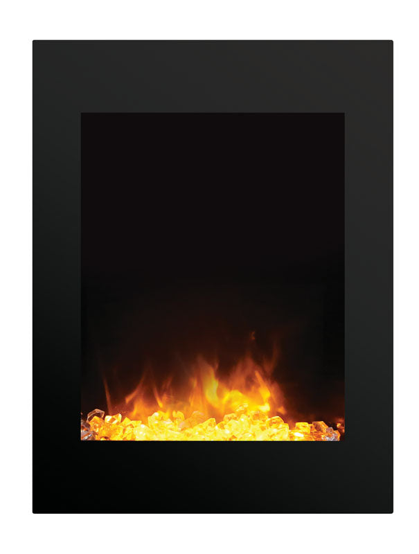 "Amantii INSERT-26-3825-BG 26"" Small Insert Electric Fireplace with Black Glass Surround"