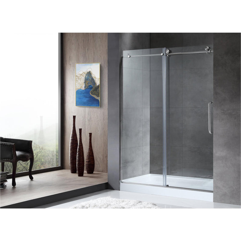 ANZZI SD-AZ13-01BN Madam Series 48 in. by 76 in. Frameless Sliding Shower Door in Brushed Nickel with Handle - homeconvex
