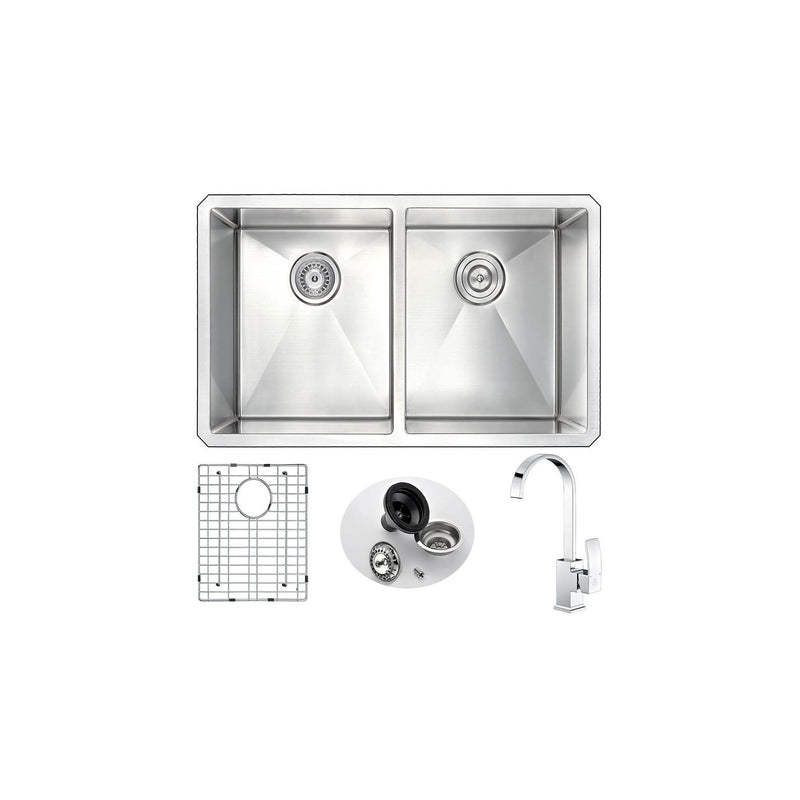 ANZZI K32192A-035 VANGUARD Undermount 32 in. Double Bowl Kitchen Sink with Opus Faucet in Polished Chrome - homeconvex