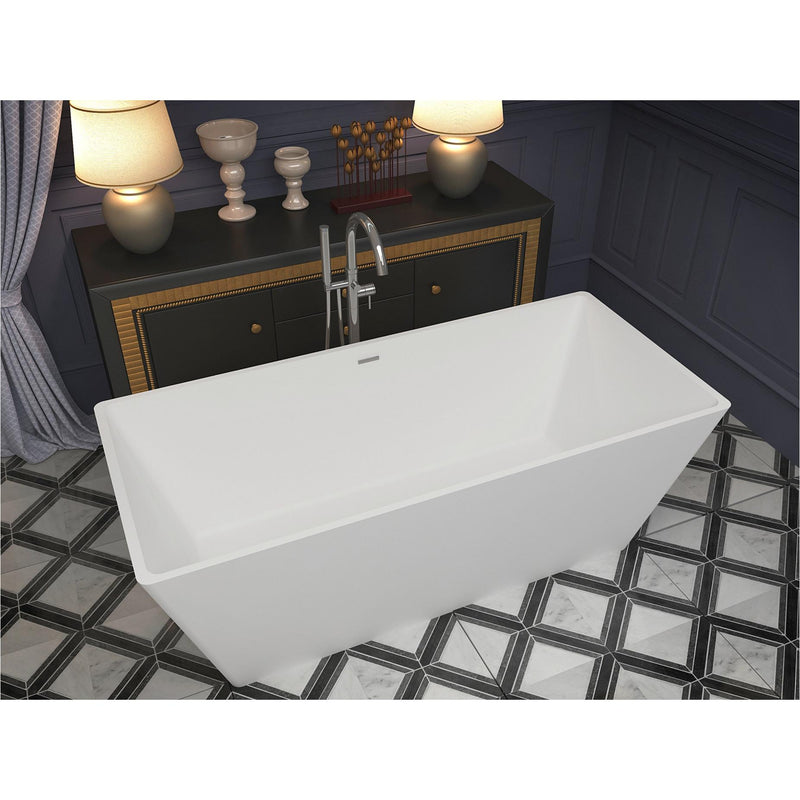 ANZZI FT-AZ501 Cenere 4.9 ft. Man-Made Stone Center Drain Freestanding Bathtub in Matte White - homeconvex