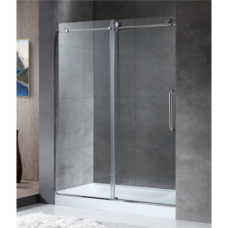 ANZZI SD-AZ13-02CH Madam Series 60 in. by 76 in. Frameless Sliding Shower Door in Chrome with Handle - homeconvex