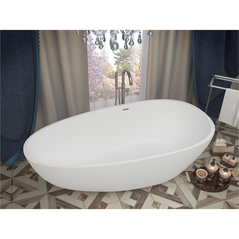 ANZZI FT-AZ502 Fiume 5.6 ft. Man-Made Stone Center Drain Freestanding Bathtub in Matte White - homeconvex