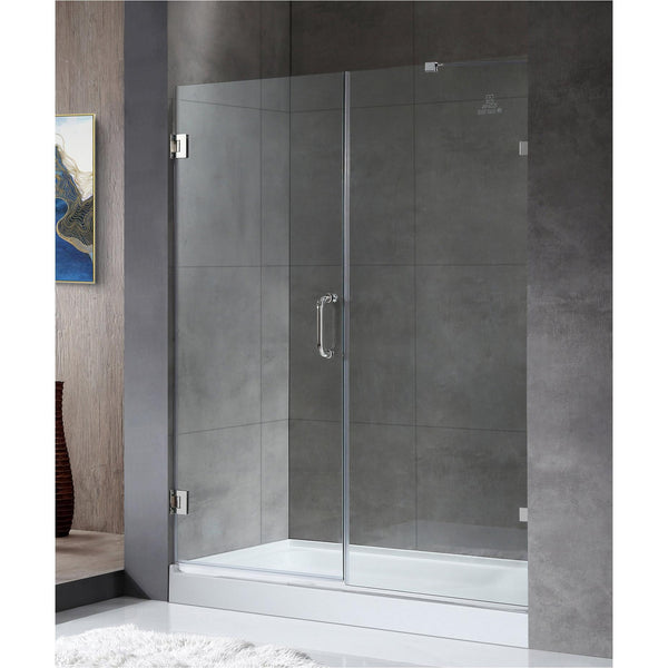 ANZZI SD-AZ07-01CH Consort Series 58.5 in. by 72 in. Frameless Hinged Alcove Shower Door in Polished Chrome with Handle - homeconvex