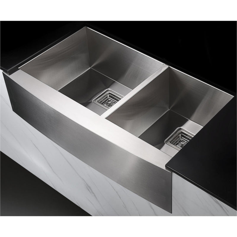 ANZZI KAZ33204AS-042 Elysian Farmhouse 33 in. 60/40 Double Bowl Kitchen Sink with Faucet in Brushed Nickel - homeconvex
