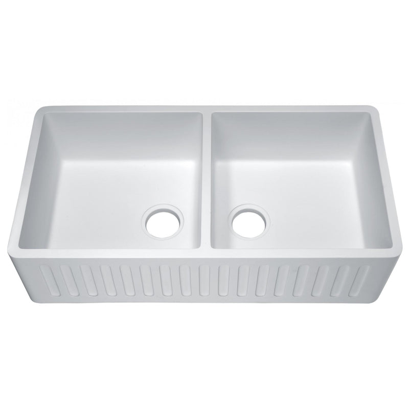 ANZZI K-AZ223-2A Roine Farmhouse Reversible Apron Front Man Made Stone 35 in. Double Basin Kitchen Sink in White - homeconvex