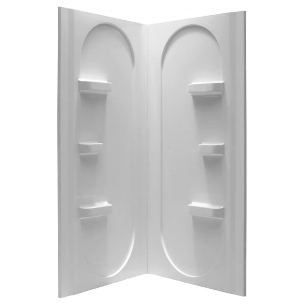 ANZZI SW-AZ007WH Studio 38 in. x 38 in. x 75 in. 2-piece Direct-to-Stud Corner Shower Surround in White - homeconvex