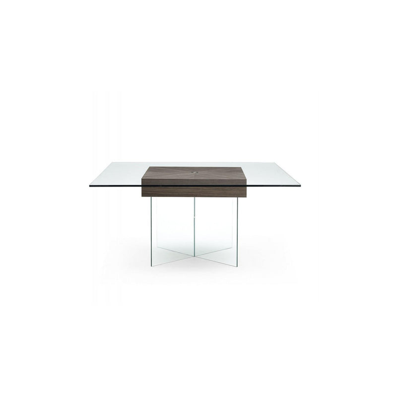 Whiteline Modern Living DT1396 Roxana Dining Table, Walnut Veneer Center - homeconvex