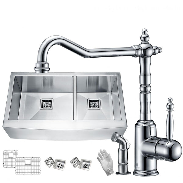 ANZZI KAZ33204AS-037 Elysian Farmhouse 33 in. 60/40 Double Bowl Kitchen Sink with Faucet in Polished Chrome - homeconvex