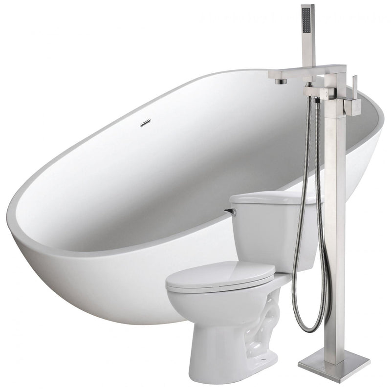 ANZZI FTAZ502-37B-55 Fiume 67 in. Man-Made Stone Soaking Bathtub with Khone Faucet and Kame 1.28 GPF Toilet - homeconvex
