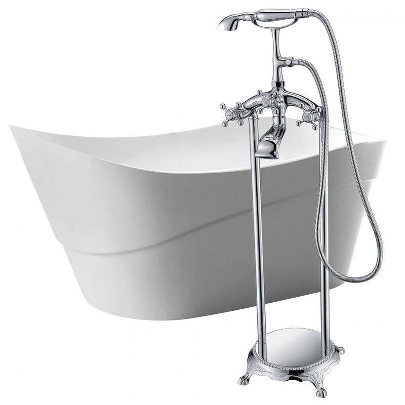 ANZZI FTAZ094-0052C Kahl 67 in. Acrylic Flatbottom Non-Whirlpool Bathtub in White with Tugela Faucet in Polished Chrome - homeconvex