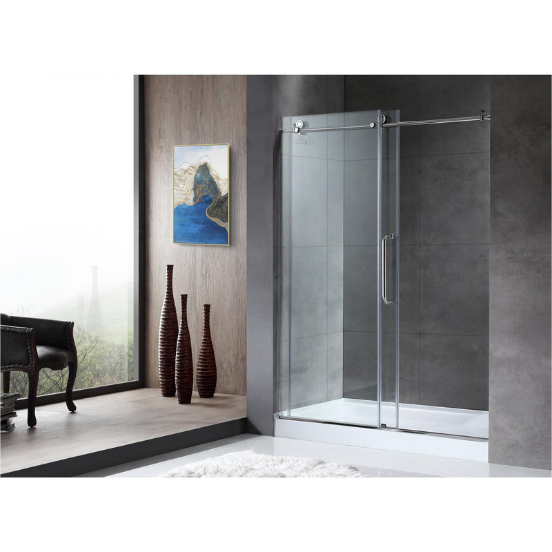 ANZZI SD-AZ13-01CH Madam Series 48 in. by 76 in. Frameless Sliding Shower Door in Chrome with Handle - homeconvex