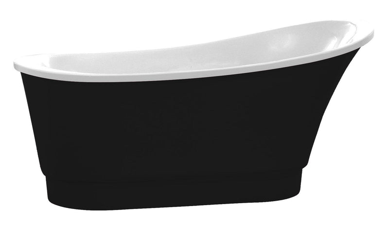 ANZZI FT-AZ095BK Prima 67 in. Acrylic Flatbottom Non-Whirlpool Bathtub in Black - homeconvex